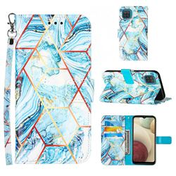 Lake Blue Stitching Color Marble Leather Wallet Case for Samsung Galaxy A12