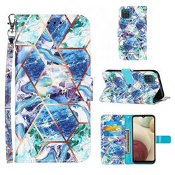 Green and Blue Stitching Color Marble Leather Wallet Case for Samsung Galaxy A12