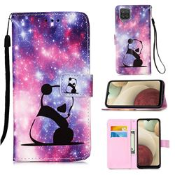 Panda Baby Matte Leather Wallet Phone Case for Samsung Galaxy A12