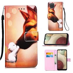 Hound Kiss Matte Leather Wallet Phone Case for Samsung Galaxy A12