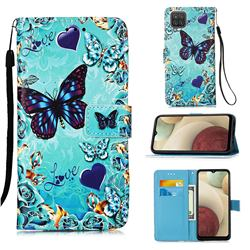 Love Butterfly Matte Leather Wallet Phone Case for Samsung Galaxy A12