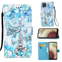 Tower Butterfly Matte Leather Wallet Phone Case for Samsung Galaxy A12