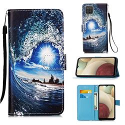 Waves and Sun Matte Leather Wallet Phone Case for Samsung Galaxy A12