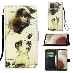 Cat Confrontation Matte Leather Wallet Phone Case for Samsung Galaxy A12