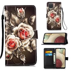Black Rose Matte Leather Wallet Phone Case for Samsung Galaxy A12