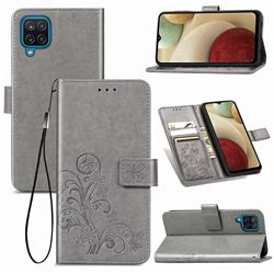 Embossing Imprint Four-Leaf Clover Leather Wallet Case for Samsung Galaxy A12 - Grey