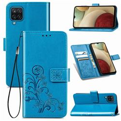 Embossing Imprint Four-Leaf Clover Leather Wallet Case for Samsung Galaxy A12 - Blue