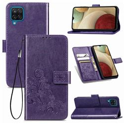 Embossing Imprint Four-Leaf Clover Leather Wallet Case for Samsung Galaxy A12 - Purple