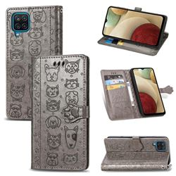 Embossing Dog Paw Kitten and Puppy Leather Wallet Case for Samsung Galaxy A12 - Gray