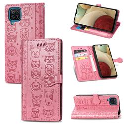 Embossing Dog Paw Kitten and Puppy Leather Wallet Case for Samsung Galaxy A12 - Pink