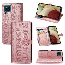 Embossing Dog Paw Kitten and Puppy Leather Wallet Case for Samsung Galaxy A12 - Rose Gold