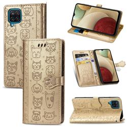 Embossing Dog Paw Kitten and Puppy Leather Wallet Case for Samsung Galaxy A12 - Champagne Gold