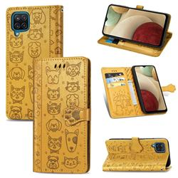 Embossing Dog Paw Kitten and Puppy Leather Wallet Case for Samsung Galaxy A12 - Yellow
