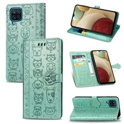 Embossing Dog Paw Kitten and Puppy Leather Wallet Case for Samsung Galaxy A12 - Green