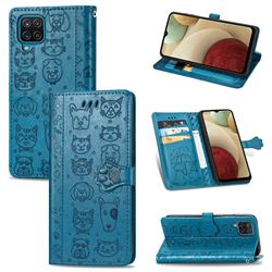 Embossing Dog Paw Kitten and Puppy Leather Wallet Case for Samsung Galaxy A12 - Blue