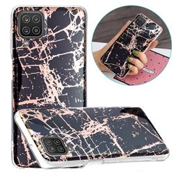 Black Galvanized Rose Gold Marble Phone Back Cover for Samsung Galaxy A12