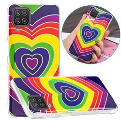 Rainbow Heart Painted Galvanized Electroplating Soft Phone Case Cover for Samsung Galaxy A12