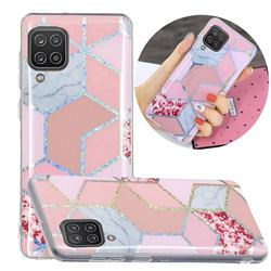 Pink Marble Painted Galvanized Electroplating Soft Phone Case Cover for Samsung Galaxy A12