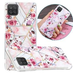 Rose Flower Painted Galvanized Electroplating Soft Phone Case Cover for Samsung Galaxy A12