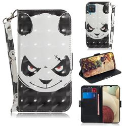 Angry Bear 3D Painted Leather Wallet Phone Case for Samsung Galaxy A12
