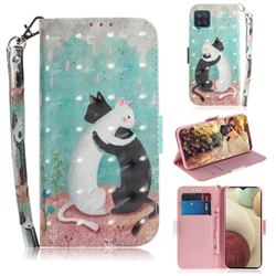 Black and White Cat 3D Painted Leather Wallet Phone Case for Samsung Galaxy A12