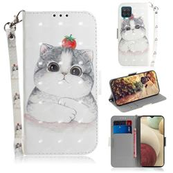 Cute Tomato Cat 3D Painted Leather Wallet Phone Case for Samsung Galaxy A12