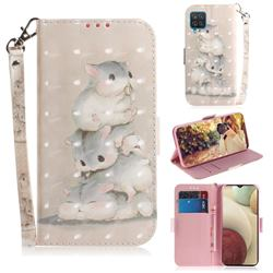 Three Squirrels 3D Painted Leather Wallet Phone Case for Samsung Galaxy A12