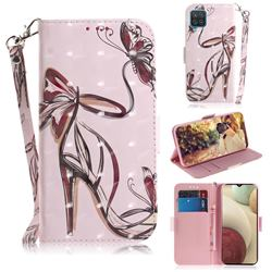 Butterfly High Heels 3D Painted Leather Wallet Phone Case for Samsung Galaxy A12