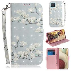 Magnolia Flower 3D Painted Leather Wallet Phone Case for Samsung Galaxy A12