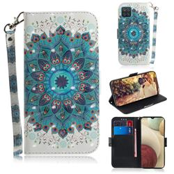 Peacock Mandala 3D Painted Leather Wallet Phone Case for Samsung Galaxy A12