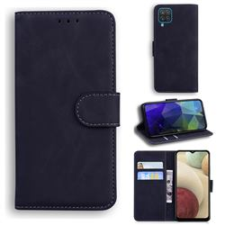 Retro Classic Skin Feel Leather Wallet Phone Case for Samsung Galaxy A12 - Black