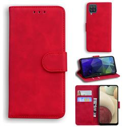 Retro Classic Skin Feel Leather Wallet Phone Case for Samsung Galaxy A12 - Red