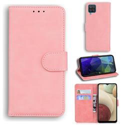 Retro Classic Skin Feel Leather Wallet Phone Case for Samsung Galaxy A12 - Pink