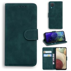Retro Classic Skin Feel Leather Wallet Phone Case for Samsung Galaxy A12 - Green