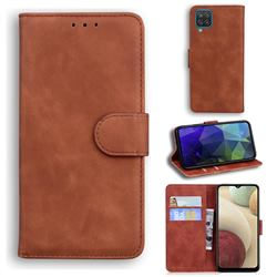 Retro Classic Skin Feel Leather Wallet Phone Case for Samsung Galaxy A12 - Brown