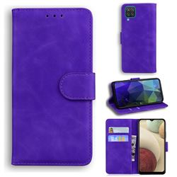 Retro Classic Skin Feel Leather Wallet Phone Case for Samsung Galaxy A12 - Purple