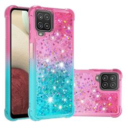 Rainbow Gradient Liquid Glitter Quicksand Sequins Phone Case for Samsung Galaxy A12 - Pink Blue