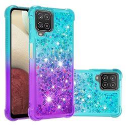 Rainbow Gradient Liquid Glitter Quicksand Sequins Phone Case for Samsung Galaxy A12 - Blue Purple