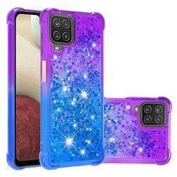 Rainbow Gradient Liquid Glitter Quicksand Sequins Phone Case for Samsung Galaxy A12 - Purple Blue
