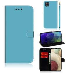 Shining Mirror Like Surface Leather Wallet Case for Samsung Galaxy A12 - Blue