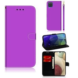 Shining Mirror Like Surface Leather Wallet Case for Samsung Galaxy A12 - Purple