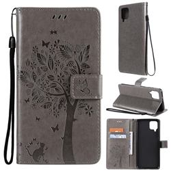 Embossing Butterfly Tree Leather Wallet Case for Samsung Galaxy A12 - Grey