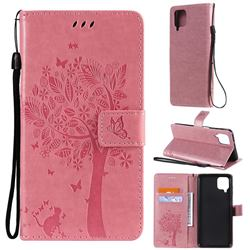 Embossing Butterfly Tree Leather Wallet Case for Samsung Galaxy A12 - Pink