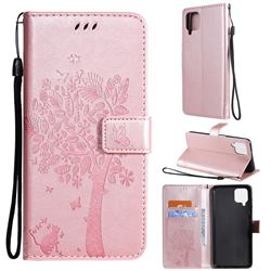 Embossing Butterfly Tree Leather Wallet Case for Samsung Galaxy A12 - Rose Pink