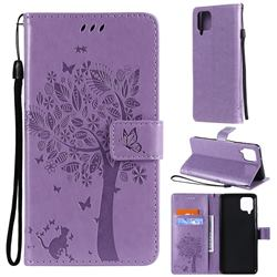 Embossing Butterfly Tree Leather Wallet Case for Samsung Galaxy A12 - Violet