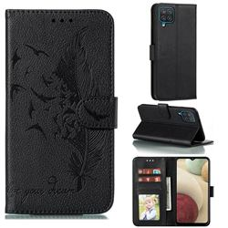 Intricate Embossing Lychee Feather Bird Leather Wallet Case for Samsung Galaxy A12 - Black