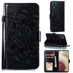 Intricate Embossing Datura Solar Leather Wallet Case for Samsung Galaxy A12 - Black