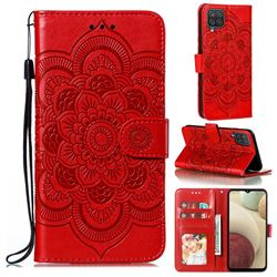 Intricate Embossing Datura Solar Leather Wallet Case for Samsung Galaxy A12 - Red