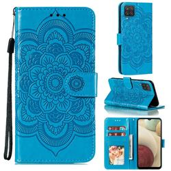Intricate Embossing Datura Solar Leather Wallet Case for Samsung Galaxy A12 - Blue