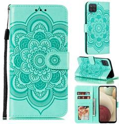 Intricate Embossing Datura Solar Leather Wallet Case for Samsung Galaxy A12 - Green